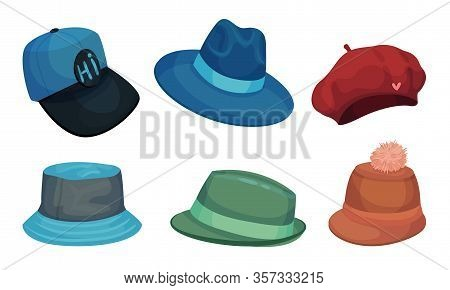 Wide Brimmed Hats And Headdresses Isolated On White Background Vector Set