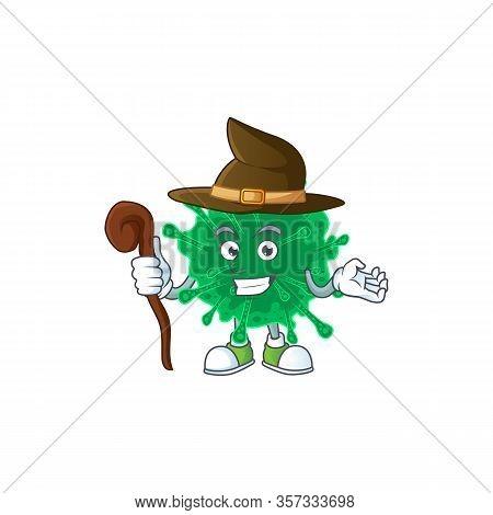 Sweet And Tricky Witch Coronavirus Pneumonia Cartoon Character