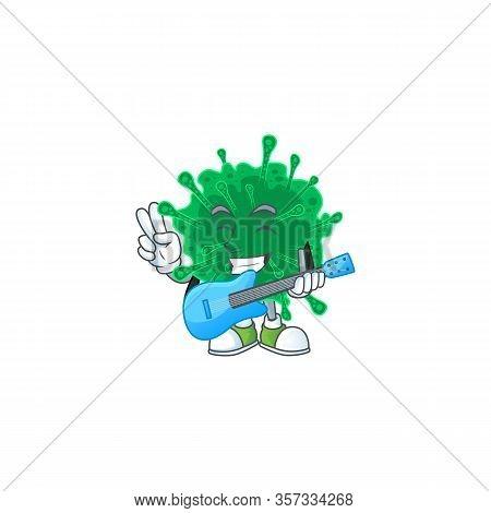Supper Talented Coronavirus Pneumonia Cartoon Design With A Guitar