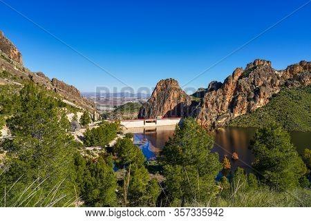 The Carcabo Water Reservoir Near Calasparra, Region Of Murcia. Spain. River Segura.