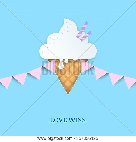 Ice Cream In The Shape Of Pink Triangle. Pink Triangle Symbol With Pink Pennant Flags. Symbol Of Lgb