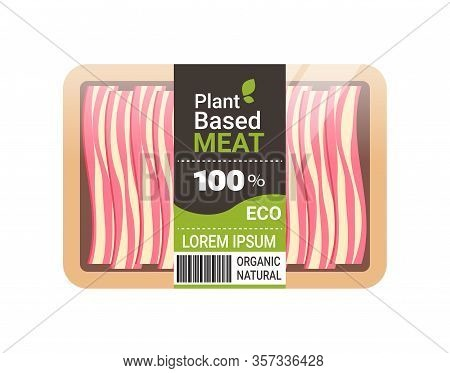 Plant Based Vegetarian Bacon Beyond Meat In Packaging Organic Natural Vegan Food Concept Horizontal