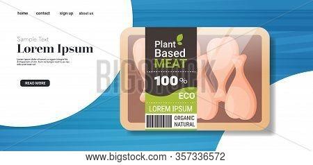 Plant Based Vegetarian Chicken Legs Beyond Meat In Packaging Organic Natural Vegan Food Concept Hori