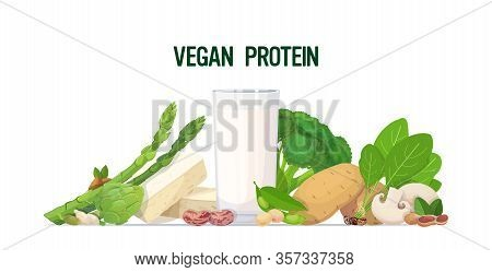 Herbs Vegetables Plant Based Tofu Milk Organic Dairy Free Natural Raw Food Composition Vegan Protein