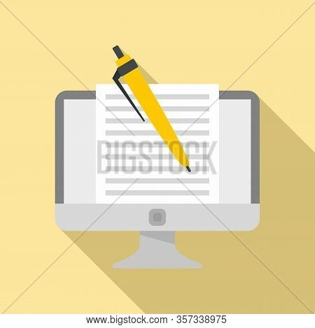 Computer Editor Icon. Flat Illustration Of Computer Editor Vector Icon For Web Design