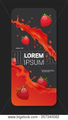 Fresh Red Strawberry Juice Liquid Splash Realistic Splashes Healthy Fruits Splashing Waves Smartphon