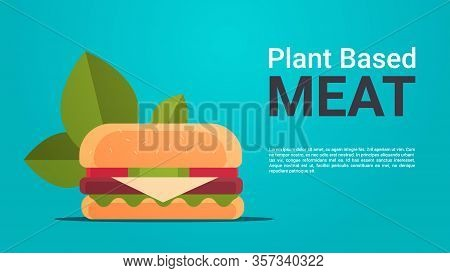 Plant Based Beyond Meat Hamburger Healthy Lifestyle Vegetarian Food Concept Horizontal Copy Space Ve