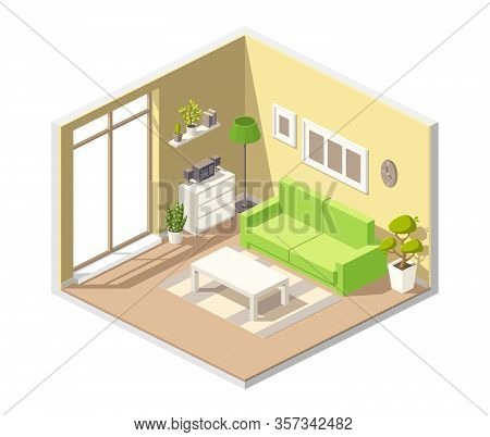 Isometric Living Room With Sofa, Table Cupboard And Other Funiture. Vector Illustration With Separat