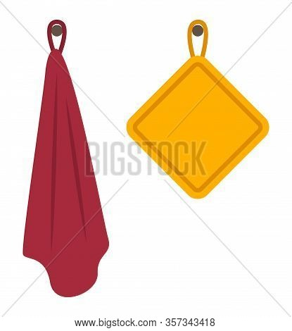 Two Cotton Towels Hung On Hooks In Kitchen Or Bathroom. Fabric Objects For Home Or Hotel. Yellow Squ