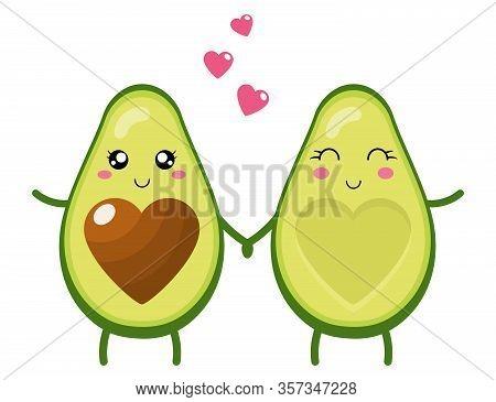 Funny Happy Cute Happy Smiling Couple Of Avocado In Love. Cute Cartoon Avocado Couple Holding Hands.