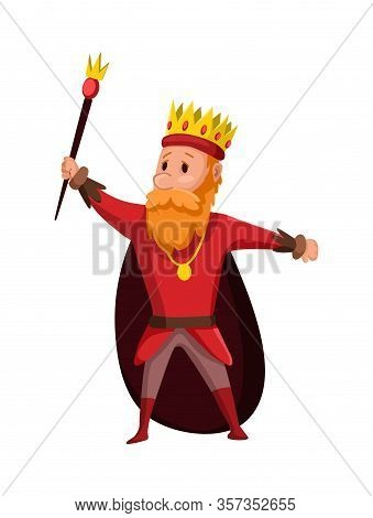 Cartoon King Wearing Crown And Mantle. Cartoon King Holding A Golden Scepter. Color Vector Illustrat