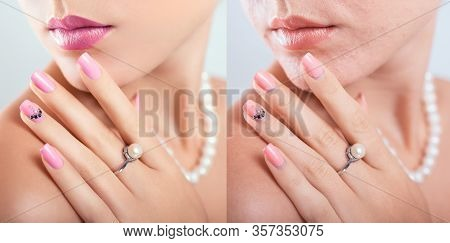 Before And After Retouching Nail Art Design In Editor. Beauty Fashion Portraits Of Woman With Makeup