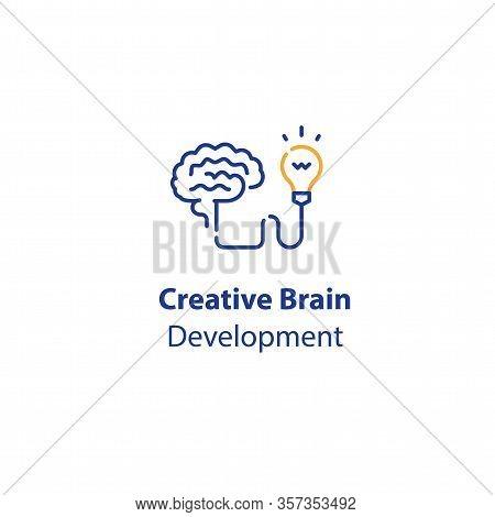 Brain And Light-bulb, Creativity Development, Smart Solution, Design Thinking, Innovative Ideas, Vec