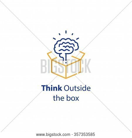 Brain And Open Box, Creativity Improvement, Think Outside The Box, Cognitive Development, Vector Lin
