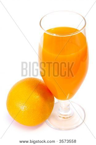 Orange Juice In Glass And Orange.