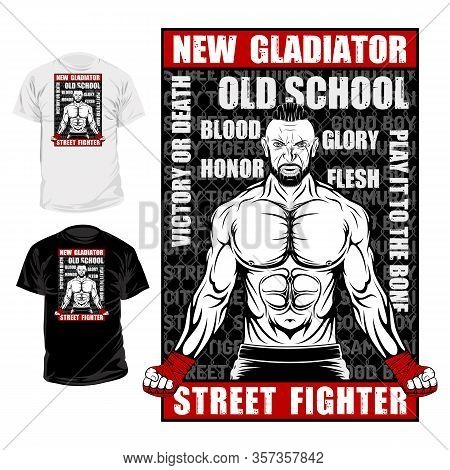 Vector Image Of A Street Fighter. New Gladiator. Urban Warrior. Combat Champion. Boxer Of The Old Sc