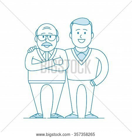 Father And His Adult Son. Elderly Father And Adult Son Together. Cartoon Characters. Illustration In