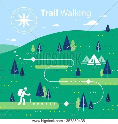 Hiking Map, Forest Trail, Running Or Cycling Path, Orienteering Game, Lush Landscape With Hills And