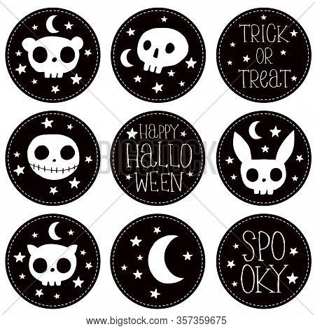 Happy Halloween. Sweet Halloween Party Vector Round Shape Stickers. White Monster And Rabbit Skull I