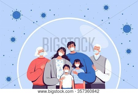 Family In Medical Masks Stands In A Protective Bubble. Adults, Old People And Children Are Protected