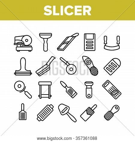 Slicer Kitchenware Collection Icons Set Vector. Manual And Electronic Food Slicer, Pizza Cutter, Che