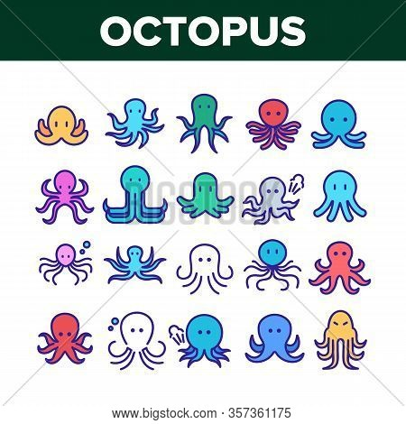 Octopus Ocean Mollusk Collection Icons Set Vector. Octopus Marine Sea Clam With Tentacles, Swimming