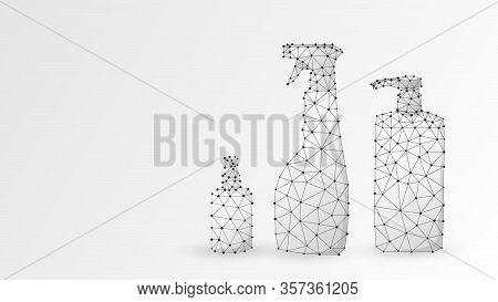 Hand Sanitizer Bottles Set. Antibacterial Spray, Hygienic Liquid, Disinfection Gel. Low Poly, Wirefr