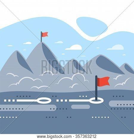 Long Term Motivation, Way To Success, Mountain Range With Flags, Reach Future Goal, Higher Achieveme