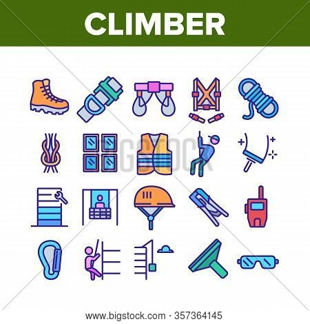 Climber Equipment Collection Icons Set Vector. Climber Helmet And Glasses, Boot, Safety Rope And Sky