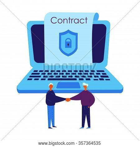 Smart Contract Concept.conclude A Blockchain Contract Via Laptop.two Man Conclude Electronic Contrac