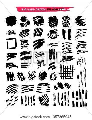 Hand Drawn Doodle Set Of Brush Art Splash. Black Hand Drawn Template Design Elements. Splash Hand Dr