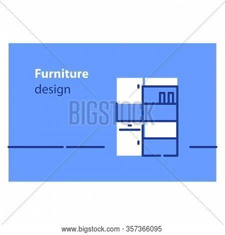 Home Furniture Concept, Interior Design, Storage Solution, Cupboard Or Wardrobe, Vector Flat Illustr