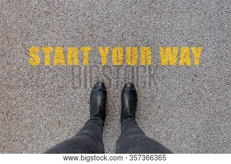 Black Shoes Standing On The Asphalt Concrete Floor. Feet Shoes Walking In Outdoor. Start Your Way. S