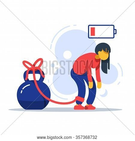 Tired Woman Tied To Kettlebell, Exhausted Girl, Female Character Feeling Powerless, Low Energy State