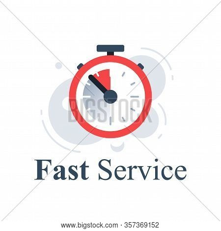 Fast Service Concept, Last Minute Stopwatch, Time Clock, Deadline Timer, Last Offer Countdown, Quick