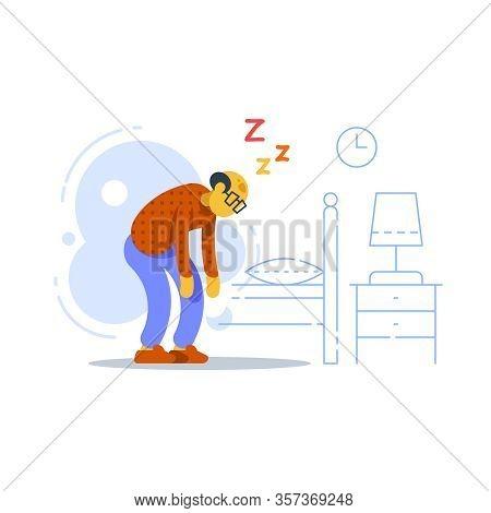 Sleepy Old Man, Sleep Deprived Or Disorder, Lack Of Energy, Feeling Weak, Vector Flat Illustration