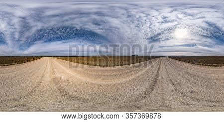 Full Seamless Spherical Hdr Panorama 360 Degrees Angle View On No Traffic Gravel Road Among Fields I