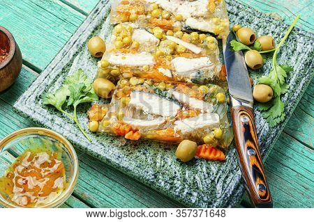 Fish Aspic On Plate