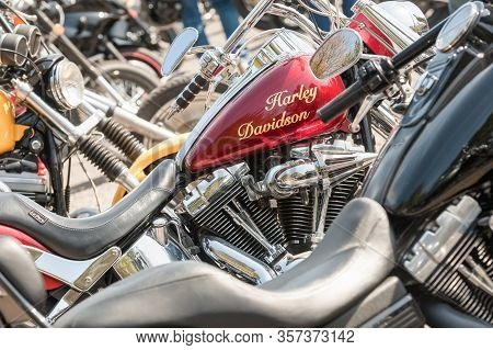 Rushmoor, Uk - April 19: Closeup Of A Harley Davidson Motorcycle Fuel Tank And Other Bikes In Rushmo