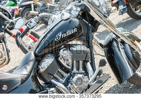 Rushmoor, Uk - April 19: Closeup Of A Restored Classic Indian Motorcycle And Other Bikes In Rushmoor
