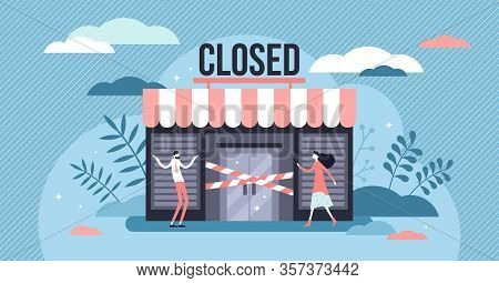 Closed Business Concept, Flat Tiny Persons Vector Illustration. Bankrupt Small Business Store Front.