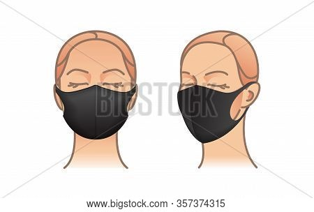 Protective Mask. Black Dust Mask On Woman Face. Air Pollution Vector Illustration