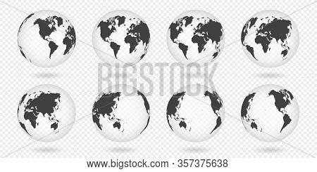 Set Of Transparent Globes Of Earth. Realistic World Map In Globe Shape With Transparent Texture And