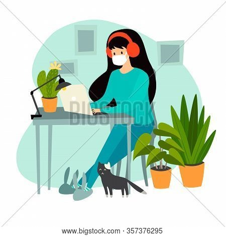 Self-isolation woman with laptop working at home vector illustration. Coronavirus epidemic concept. Isolation at home, Coronavirus pandemic. Isolated on white background