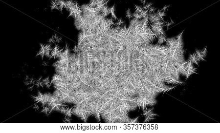 Frosted Frame From Center To The Borders. Frosted Patterns On The Glass. 3d Rendering.
