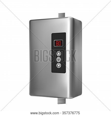 Modern House Heater System For Heat Water Vector. Blank Style Aluminum Automatic Smart Heater For He