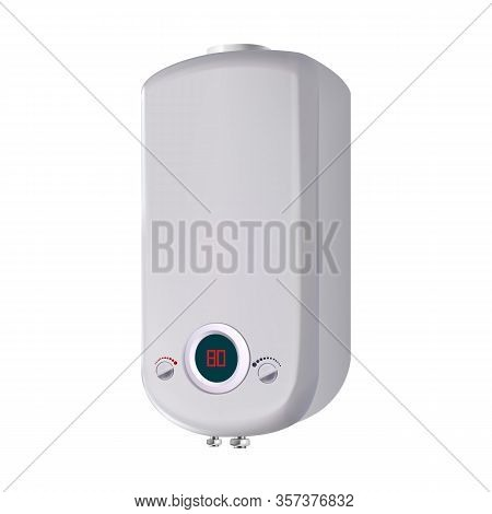 Domestic Water Heater Modern Equipment Vector. Blank Stylish Metal Material Device For Heating Clima