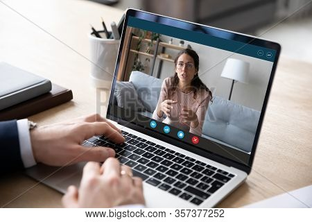 Businessman Talk With Female Business Partner On Video Call