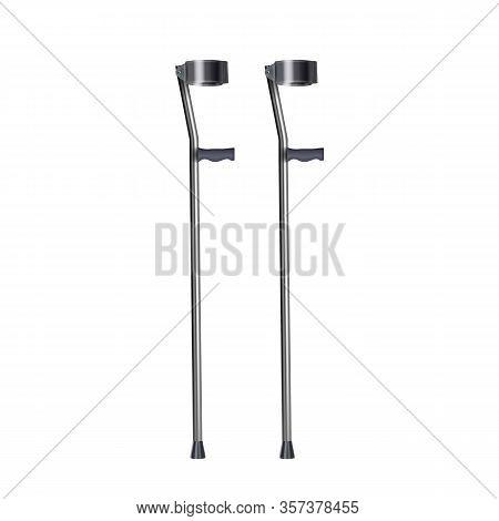 Crutches For Patient Legs Rehabilitation Vector. Convenient Metallic Elbow Crutches Medical Equipmen