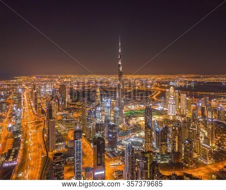 Aerial View Of Dubai Downtown Skyline, Highway Roads Or Street In United Arab Emirates Or Uae. Finan